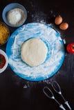 Μαγειρεύοντας συστατικά πιτσών Στοκ εικόνες με δικαίωμα ελεύθερης χρήσης