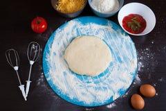 Μαγειρεύοντας συστατικά πιτσών Στοκ Φωτογραφίες