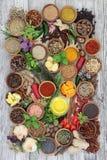 Μαγειρικά χορτάρια και καρυκεύματα για το καρύκευμα Στοκ Φωτογραφίες