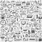 Μαγειρική, φυσικά τρόφιμα - doodles θέστε Στοκ φωτογραφία με δικαίωμα ελεύθερης χρήσης