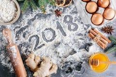 Μαγειρικό υπόβαθρο Χριστουγέννων Στοκ Εικόνες