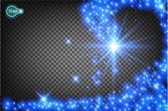 Μαγικά να πετάξει ένα αστέρι Χριστουγέννων είναι μια ρεαλιστική ελαφριά επίδραση ρεύμα του φωτός αστεριών Διαφανές πρότυπο του im Στοκ Εικόνες