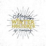 Μαγικές χειμερινές διακοπές, ετικέτα τυπογραφίας Χριστουγέννων Αναδρομικό διακριτικό τυπογραφίας Χριστουγέννων Στοκ φωτογραφίες με δικαίωμα ελεύθερης χρήσης