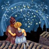Μαγική έναστρη νύχτα ελεύθερη απεικόνιση δικαιώματος