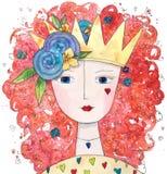 Μαγική βασίλισσα της αγάπης με τις καρδιές και τα λουλούδια διανυσματική απεικόνιση