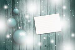 Μαγική γαλαζοπράσινη διακόσμηση Χριστουγέννων με το κενό φύλλο Στοκ Εικόνα