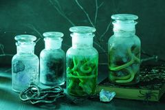 Μαγική διακόσμηση αποκριών φίλτρων βάζων αποθηκαρίων μαγισσών Στοκ Φωτογραφία