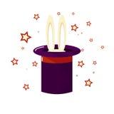 Μαγική εστίαση Το κουνέλι ή το λαγουδάκι αυτιών εμφανίζεται από το μαγικό τοπ καπέλο απεικόνιση αποθεμάτων