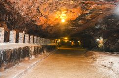 Μαγική εσωτερική άποψη του αλατισμένου ορυχείου Khewra Στοκ εικόνες με δικαίωμα ελεύθερης χρήσης