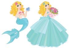Μαγική κινούμενων σχεδίων γοργόνα πριγκηπισσών νεράιδων χαριτωμένη ελεύθερη απεικόνιση δικαιώματος