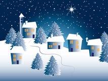μαγική νύχτα τοπίων Χριστουγέννων Στοκ Φωτογραφίες