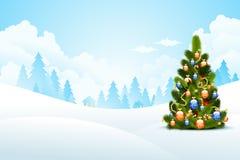 μαγική νύχτα τοπίων Χριστουγέννων Στοκ εικόνα με δικαίωμα ελεύθερης χρήσης