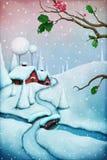 μαγική νύχτα τοπίων Χριστουγέννων απεικόνιση αποθεμάτων