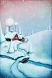 μαγική νύχτα τοπίων Χριστουγέννων διανυσματική απεικόνιση
