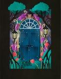 Μαγική ξύλινη πόρτα σε δασικές δύο αναδρομικές ορισμένες πόρτες νεράιδων που περιβάλλονται από τα δέντρα, τους λαμπτήρες και τα λ ελεύθερη απεικόνιση δικαιώματος