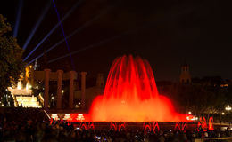 Μαγική πηγή της Βαρκελώνης Plaza de Espana, Ισπανία Στοκ Φωτογραφίες