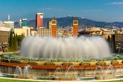 Μαγική πηγή Montjuic στη Βαρκελώνη, Ισπανία Στοκ Φωτογραφία