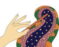 Μαγική ράβδος zentangle Φαντασία zendoodle Διανυσματική σύγχυση μάγων zen και doodle Χρωματίζοντας βιβλίο νεράιδων Αστέρι και νύχ Στοκ φωτογραφίες με δικαίωμα ελεύθερης χρήσης