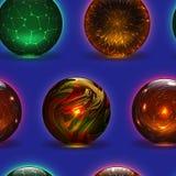 Μαγική σφαίρα γυαλιού κρυστάλλου σφαιρών διανυσματική μαγική και λαμπρός διαφανής σφαίρα αστραπής ως απεικόνιση μαντών πρόβλεψης διανυσματική απεικόνιση