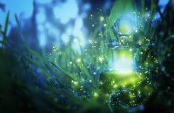 Μαγική φίλτρο σκόνης νεράιδων στο μπουκάλι στο δάσος στοκ φωτογραφίες