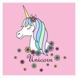 Μαγική χαριτωμένη αφίσα μονοκέρων, ευχετήρια κάρτα, απεικόνιση Χαριτωμένο μαγικό χαριτωμένο ζώο φαντασίας κινούμενων σχεδίων Τρίχ ελεύθερη απεικόνιση δικαιώματος