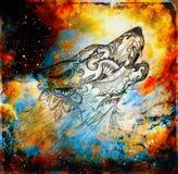 Μαγικός διαστημικός λύκος, πολύχρωμο γραφικό κολάζ υπολογιστών στοκ εικόνα με δικαίωμα ελεύθερης χρήσης