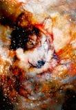 Μαγικός διαστημικός λύκος, πολύχρωμο γραφικό κολάζ υπολογιστών Επίδραση γυαλιού απεικόνιση αποθεμάτων