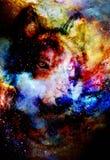 Μαγικός διαστημικός λύκος, πολύχρωμο γραφικό κολάζ υπολογιστών ελεύθερη απεικόνιση δικαιώματος