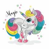 μαγικός μονόκερος Πόνι νεράιδων Μάιν ουράνιων τόξων Σχέδιο-ύφος διάνυσμα διανυσματική απεικόνιση