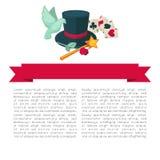 Μαγικός παρουσιάστε διανυσματικό σχέδιο αφισών του καπέλου, της ράβδου και των καρτών εξοπλισμού τεχνάσματος μάγων Στοκ Εικόνες