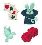 Μαγικός παρουσιάστε στον εξοπλισμό τεχνάσματος μάγων το διανυσματικά επίπεδα καπέλο λαγουδάκι, το περιστέρι και εικονίδια καρτών Στοκ εικόνα με δικαίωμα ελεύθερης χρήσης