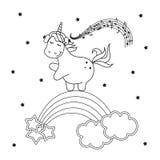 Μαγικός χαριτωμένος μονόκερος Χρωματίζοντας διανυσματική απεικόνιση μαύρο λευκό γραμμών ανασκόπησης διανυσματική απεικόνιση