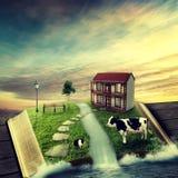 Μαγικό ανοιγμένο βιβλίο με τη οικογενειακή κατοικία, που καλύπτεται με τη χλόη Στοκ Φωτογραφίες