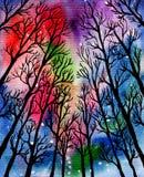 Μαγικό δασικό Watercolor Στοκ Εικόνες