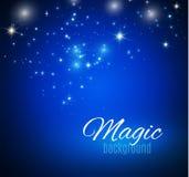 Μαγικό διάστημα Άπειρο σκόνης νεράιδων αφηρημένος κόσμος ανασκόπ&e Μπλε υπόβαθρο και λάμποντας αστέρια επίσης corel σύρετε το διά διανυσματική απεικόνιση