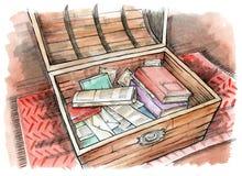 Μαγικό θωρακικό ανοικτό στήθος με τα παλαιές βιβλία, τις εφημερίδες και τις φωτογραφίες διανυσματική απεικόνιση