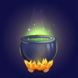 Μαγικό καζάνι αλχημείας μαγισσών στην πυρκαγιά ελεύθερη απεικόνιση δικαιώματος