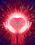 Μαγικό κόκκινο υποβάθρου αγάπης δύναμης ελαφριών ακτίνων καρδιών χεριών Στοκ φωτογραφία με δικαίωμα ελεύθερης χρήσης