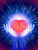 Μαγικό μπλε υποβάθρου αγάπης δύναμης ελαφριών ακτίνων καρδιών χεριών Στοκ φωτογραφίες με δικαίωμα ελεύθερης χρήσης