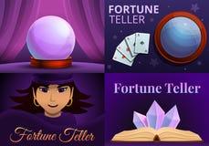 Μαγικό σύνολο εμβλημάτων αφηγητών τύχης, ύφος κινούμενων σχεδίων απεικόνιση αποθεμάτων