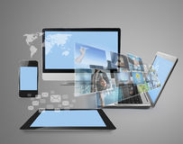 Μαγικό newTechnology με το κοινωνικό δίκτυο Στοκ Εικόνες