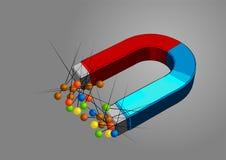 Μαγνήτης και καρφίτσες Στοκ εικόνα με δικαίωμα ελεύθερης χρήσης
