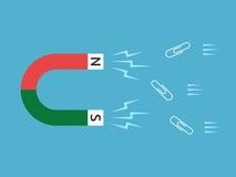 Μαγνήτης που προσελκύει τους συνδετήρες εγγράφου Στοκ εικόνες με δικαίωμα ελεύθερης χρήσης