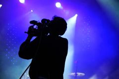 Μαγνητοσκόπηση που δένει τη ζωντανή συναυλία με ταινία Στοκ εικόνες με δικαίωμα ελεύθερης χρήσης