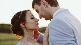 Μαγνητοσκόπηση της νύφης και του νεόνυμφου που στέκονται και που αγκαλιάζουν το ένα άλλος σε μια επαρχία στον καθορισμό των φω'τω απόθεμα βίντεο
