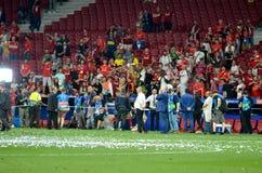 Μαδρίτη, Ισπανία - 1 ΜΑΐΟΥ 2019: Οι θαυμαστές και οι θεατές του Λίβερπουλ γιορτάζουν τη νίκη τους του UEFA Champions League το 20 στοκ εικόνες με δικαίωμα ελεύθερης χρήσης