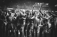 Μαδρίτη, Ισπανία - 1 ΜΑΐΟΥ 2019: Οι φορείς του Λίβερπουλ γιορτάζουν τη νίκη τους του UEFA Champions League το 2019 μετά από το τε στοκ φωτογραφίες
