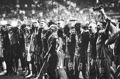 Μαδρίτη, Ισπανία - 1 ΜΑΐΟΥ 2019: Οι φορείς του Λίβερπουλ γιορτάζουν τη νίκη τους του UEFA Champions League το 2019 μετά από το τε στοκ εικόνες