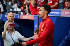 Μαδρίτη, Ισπανία - 1 ΜΑΐΟΥ 2019: Ποδοσφαιριστής κατά τη διάρκεια του τελικού αγώνα UEFA Champions League 2019 μεταξύ FC Λίβερπουλ στοκ φωτογραφίες