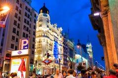 ΜΑΔΡΊΤΗ ΙΣΠΑΝΙΑ - 23 ΙΟΥΝΊΟΥ 2015: GRAN ΜΈΣΩ της οδού, Μαδρίτη, Ισπανία Στοκ Φωτογραφίες